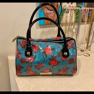 Betsey Johnson Green Floral Duffle Purse